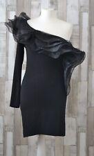 Rare Black One Shoulder Structured Frill Dress Size 10