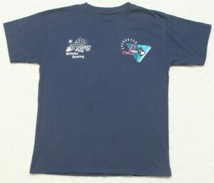 Evergreen Lanes Cosmic Birthday Bowling Blue Tee T-Shirt Top Cotton Youth Large