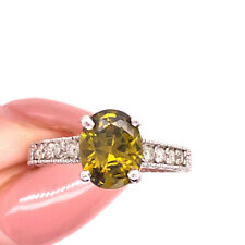 Peridot and Diamond Right-Hand Ring in 14k White Gold