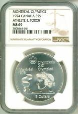 1974 S$5 Canada Montreal Olympics Athlete & Torch NGC MS69