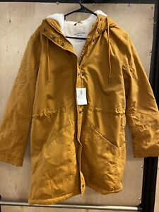 Old Navy Water-resistant Hodded Faux Fur Lined Parka Size M Mustard
