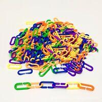 100Pcs Durable Plastic C Chain Parrot Bird Bite Toys Clip Hook C-Links Molar