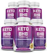 6 X KETO BHB 1200mg PURE Ketone FAT BURNER Weight Loss Diet Pills Ketosis