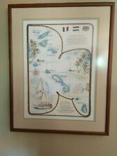 VINTAGE MAP WINDJAMMER BAREFOOT CRUISES Framed Print Leeward Islands Polynesia