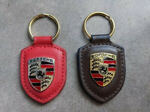 Set of 2 Porsche RED and BROWN leather metal crest key ring keyring fobchain