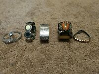 5 PIECE FASHION WOMEN'S JEWELRY BRACELET LOT VINTAGE SILVER METALS ASSORTED