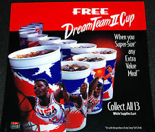 McDonalds NBA USA Olympic Dream Team Basketball Cup Store Display Translite Sign