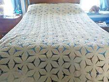 "New listing vintage cotton hand crochet bedspread 88"" x 92"" popcorn stitch?"