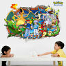 3D Effect Pokemon Pikachu Wall Stickers Mural Decor Kids Room Removable Decal