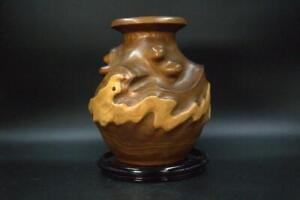 Japanese wooden vase Natural snakelike pattern WO96