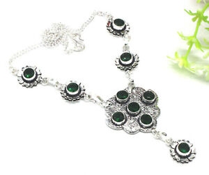 """925 Sterling Silver Chrome Diopside Gemstone Jewelry Necklace Size-17-18"""""""