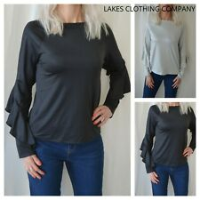 M&S Collection Top Black & Silver Frill Long Sleeve Womens Top Metallic RRP £25