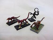 Warhammer 40K Dark Eldar Beastmaster and 3 Warp Beasts army lot metal oop