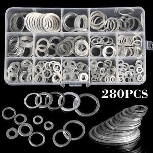 280pcs Aluminum Sealing Washer Gasket Aluminum Flat Gaskets Washers Assort Kits