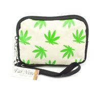 Marijuana Leaf Coin Purse Wristlet Black Beige Canvas Pot Leaves ID Wallet Pouch
