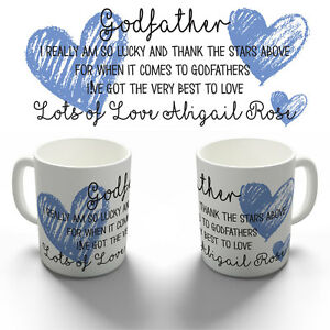 PERSONALISED GODFATHER COFFEE MUG TEA CUP CHRISTENING BAPTISM PRESENT GIFT