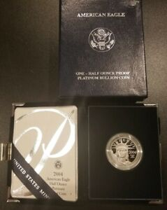 GEM 2004 W 1/2 oz American Eagle Platinum Proof coin with box, case, and COA