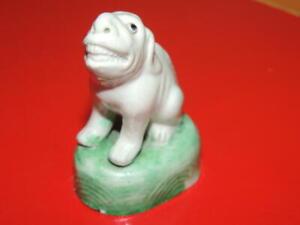 "Chinese Mud Beast 2.5"" lion foo Mudman Antique c1910 white w green waves marked"