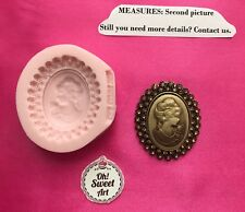 LADY CAMEO BROOCH,  frame Silicone  Mold Food Safe Cake Decoration soap Cupcake