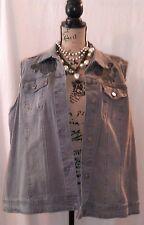 NWT DG2 Diane Gilman Gray Denim Vest Distressed Frayed with Flower Embroidery SZ