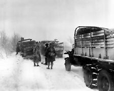 US Army Vehicles on road in Belgium Battle of the Bulge 8x10 II WW2 Photo 594