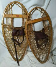 """Vintage Faber Snowshoes 25 1/2"""" Long x 12"""" Wide Leather Bindings"""