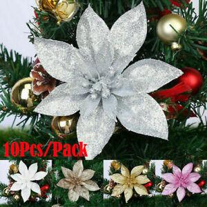 10Pcs 15cm Large Christmas Poinsettia Glitter Flower Tree Hanging Party Decor UK