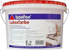 baufan Latexfarbe 2,5l weiß Dispersionsfarbe Wandfarbe Innenfarbe Außenfarbe