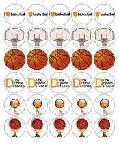 30x 4cm BASKETBALL EDIBLE FONDANT/WAFER FAIRY CUPCAKE TOPPERS