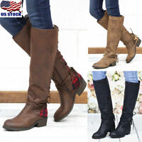 US Womens Winter Boots Mid Calf Low Heel Riding PU Leather Knee High Shoes Size