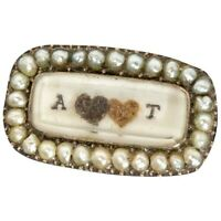 Antique Mourning Pin with Tiny Seed Pearls w/ a Double Heart in 9ct gold