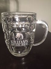 GEORGE KILLIANS IRISH RED Thumbprint Etched Glass Steins Mugs Luminarc USA 16 oz
