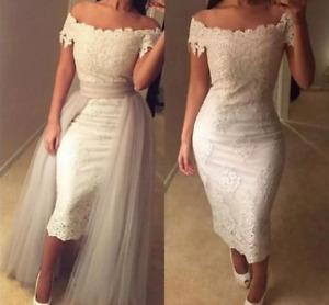 Short Meramid Wedding Dresses Mid-Calf Length Off Shoulder With Deatchable Skirt