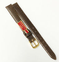 Speidel Germany Classic Lizard Leather Brown Tone 10mm Gold Buckle Watch Band