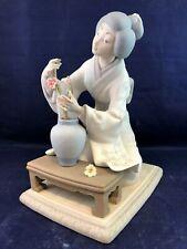 Vintage Lladro Geisha Flower Arranger Matte Finish Figurine