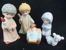 Vintage Homco Children Nativity Set 5 Pieces Lot! Holy Family! Shepherd! Lamb