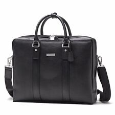 Brooks Brothers Luxury Briefcase Leather Laptop Bag Black Silver Attache NWT