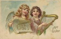 CHRISTMAS - Two Angels and Harp A Merry Christmas - 1908