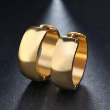 Women Men Stainless Steel Round Hoop Huggie Earrings Gold Plated Wedding Jewelry