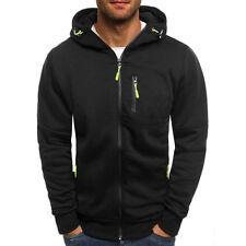 UK Mens Zip Up Hoodie Hoody Jacket Plain Casual Gym Hooded Sweatshirt Coats Tops