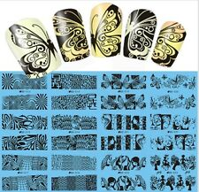 Nail Art Water Transfer Decals Flowers Lace Geo Aztec Pattern Tribal Stamping