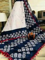 WomenBagru Hand Block Ekkat Print Soft Cotton Mulmul Saree Party Wear For Women
