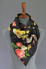 Gucci Black 100% Silk Floral Botanical Scarf New With Tags