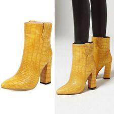 Women Snakeskin Pattern Pointy Toe Block High Heel Pull On Runway Cocktail Boots