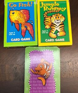 Set Of 3 Full Size Childrens Card Games  2 Go Fish Jungle Rummy
