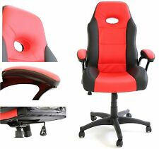 REBOXED Charles Jacobs Executive Office Desk Gaming Chair PU Leather Black Red