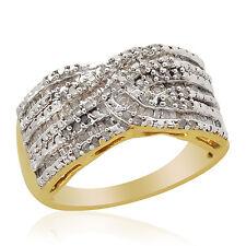 Diamante Criss Cross Anillo En Oro De 14k De Plata Sterling 1.000 Ct. Talla S