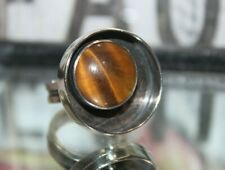 SIGNED Mid Century Modern STERLING SILVER Tiger Eye SHADOW BOX RING 7.5