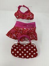 "American Girl MY AG Berry Skirtini 18"" Doll Swimsuit Bikini & Tote Bag Red Pink"
