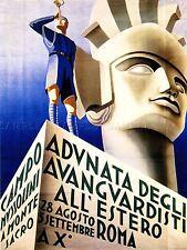 PROPAGANDA FASCIST MUSSOLINI ITALY BUGLE STATUE ROME ART POSTER PRINT LV6973